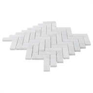 Decor8 Tiles 305 x 325 x 10mm White Marble Herringbone Carrara Mosaic Tile