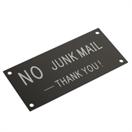 Sandleford 140 x 65mm No Junk Mail Black Acrylic Sign
