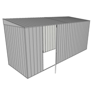 Build-a-Shed 1.5 x 4.5 x 2m Single Hinged Side Door Skillion Shed - Zinc