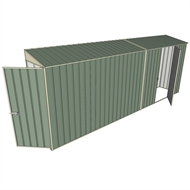 Build-a-Shed 0.8 x 5.2 x 2m Single Hinged Door Skillion Shed with Single Hinged Side Door - Green