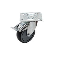 Ambassador 125mm 100kg Grey Rubber Heavy Duty Swivel Brake Castor