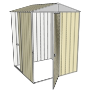 Build-a-Shed 1.5 x 1.5 x 2.3m Single Hinged Door Gable Shed with Single Sliding Side Door - Cream