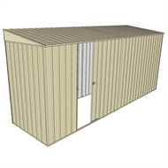 Build-A-Shed 1.2 x 4.5 x 2.0m Zinc Skillion Single Sliding Side Door Shed - Cream