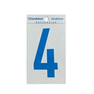 Sandleford 85mm 4 Reflective Blue Self Adhesive Numeral