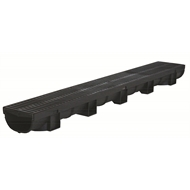 Everhard EasyDRAIN 1m Compact Channel With 80mm Black Polymer Grate