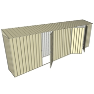 Build-a-Shed 0.8 x 6 x 2m Skillion Shed with Single and Double Hinged Side Doors - Cream