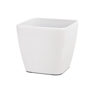 Eden 22cm Premium Round White Self Watering Plastic Pot