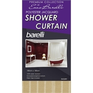 Barelli 180 x 180cm Cream Ivory Jacquard Polyester Shower Curtain
