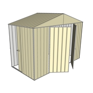 Build-a-Shed 3.0 x 1.5 x 2.3m Double Hinge and Single Sliding Door Narrow Shed - Cream