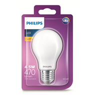 Philips 4.5W 600lm Warm White A60 A Shape Classic ES LED Globe