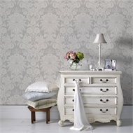 Superfresco Easy 52cm x 10m Venetian Damask Grey Wallpaper