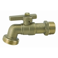 Kinetic 20mm Rough Brass 1/4 Turn Hose Cock