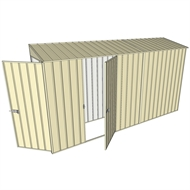 Build-a-Shed 0.8 x 3.7 x 2m Tunnel Hinged Door Shed with Single Hinged Side Door - Cream