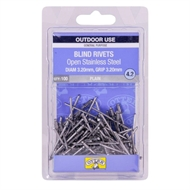 Otter 3.2 x 3.2mm Open Stainless Steel Blind Rivets - 100 Pack