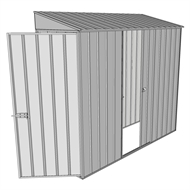 Build-a-Shed 0.8 x 2.3 x 2m Hinged Door Tunnel Shed with Single Sliding Side Door - Zinc
