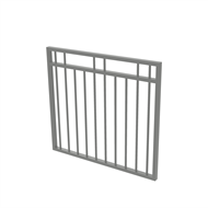 Protector Aluminium 975 x 900mm Double Top Rail 2 Up 2 Down Garden Gate - To Suit Self Closing Hinges - Palladium Silver