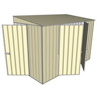 Build-a-Shed 1.5 x 3 x 2m Hinged Door Tunnel Shed with 2 Hinged Side Doors - Cream
