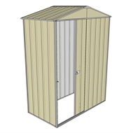 Build-a-Shed 1.5 x 0.8 x 2.3m Front Gable Single Sliding Door Shed - Cream