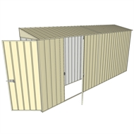 Build-a-Shed 0.8 x 4.5 x 2m Skillion Single Hinged Door Shed with Single Hinged Side Door - Cream