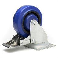 Easyroll 100mm Blue Elastic Rubber Swivel Plate And Brake Castor