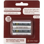 Solar Magic 1000mAh Lithium Ion Rechargeable Batteries - 2 Pack