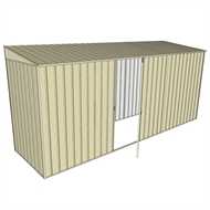 Build-A-Shed 1.2 x 4.5 x 2.0m Zinc Skillion Single Hinged Side Door Shed - Cream