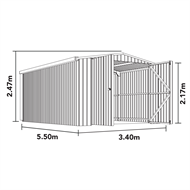 Absco Sheds 3.4 x 5.5 x 2.47m Double Barn Door Compact Garage - Pale Eucalypt