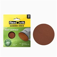 Flexovit 125mm 80 Grit All Surface Orbital Sanding Disc - 5 Pack