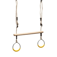 Swing Slide Climb Timber Trapeze With Yellow Rings