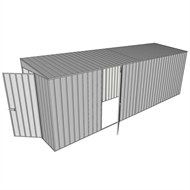 Build-a-Shed 1.5 x 6 x 2m Hinged Door Tunnel Shed with Hinged Side Door - Zinc
