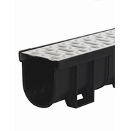 Everhard EasyDRAIN 3m Prejoined Black Polymer Channel with Pressed Stainless Steel Metal Grate