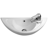Caroma 560mm White Compact Wall Basin With 1 Tap Hole