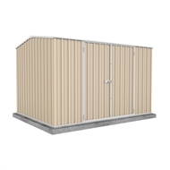 Absco Sheds 3.00 x 2.26 x 2.00m Premier Double Door Shed - Classic Cream