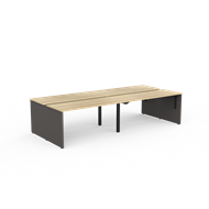 CeVello 1500 x 600mm Oak And Charcoal Four User Double Sided Desk