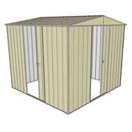 Build-a-Shed 2.3 x 2.3 x 2.3m Front Gable Two Single Sliding Door Shed - Cream