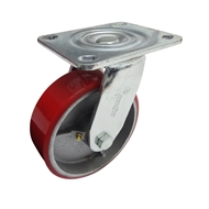 Move It 150mm 410kg Red Polyurethane on Cast Iron Swivel Plate Castor