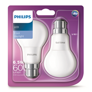 Philips 6.5W A60 Bc Globes Cool White - 2 Pack