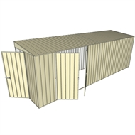 Build-a-Shed 1.5 x 6 x 2m Hinged Door Tunnel Shed with Double Hinged Side Doors - Cream