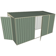 Build-a-Shed 1.5 x 3.7 x 2m Hinged Door Tunnel Shed with Hinged Side Door - Green