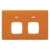 HPM LINEA Double Autoswitch Powerpoint Coverplate - Orange Crush