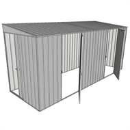 Build-a-Shed 1.5 x 4.5 x 2m Sliding Door Tunnel Shed with Side Doors - Zinc