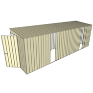 Build-a-Shed 1.5 x 6 x 2m Sliding Door Tunnel Shed with Side Doors - Cream