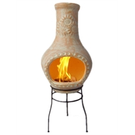 Jumbuck 35 x 35 x 63cm Clay Chimenea With Metal Stand