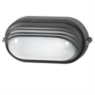 Arlec Oval Large Lourvred Black Bunker Light