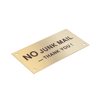 Sandleford 95 x 47mm Brass No Junk Mail Sign