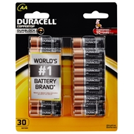 Duracell AA Alkaline Batteries - 30 Pack