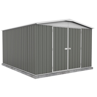 Garden Pro 3 x 3.66 x 2.06m Gable Roof Double Door Shed - Grey