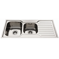 Everhard 1080mm Squareline 1¾ Bowl Left Hand Kitchen Sink With Drainer