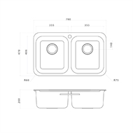 Clark Double Bowl Polar Overmount Sink