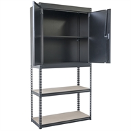Handy Storage 910 x 1830 x 400mm Black Boltless Combined Shelf & Half Cabinet